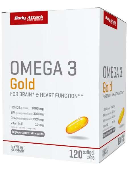 Body Attack Omega 3 Gold, 120 Softgel Kapseln