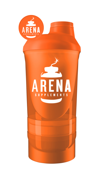 Arena Supplements Wave+ Shaker 600ml(+200ml+150ml) Orange, 1 Stück