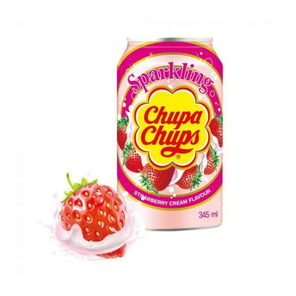 Chupa Chups Sparkling Strawberry Cream, 24 x 345ml