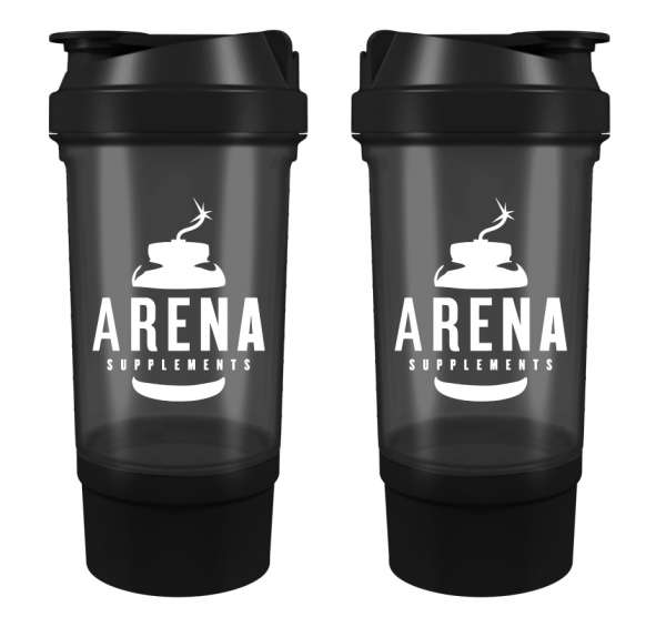 Arena Supplements Shaker Schwarz mit Fach, 500 ml