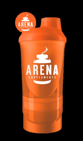 Arena Supplements Wave+ Shaker 600ml(+200ml+150ml) Orange, 1 Stück