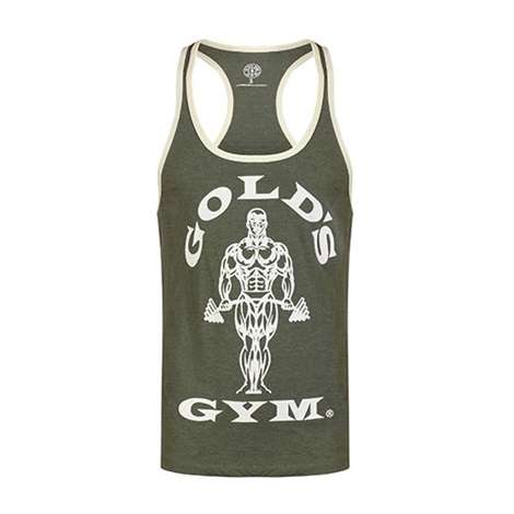 Golds Gym Classic Stringer Tank Top Army/Cream